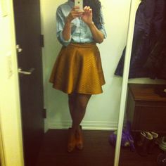 Denim shirt from Kersh Canada. Lustre circle skirt from Montreal. Jenny Kayne burnt-orange peep toe wedges.