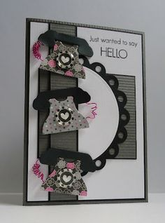 handmade greeting card fro the Lift Challenge ...: Elevator Challenge # 26 ...like the bold look of the design from the black layerin and accents ... black, white and gray with pops of hot pink ... pleasing color combo ... three cute dial telephones .. great card!!