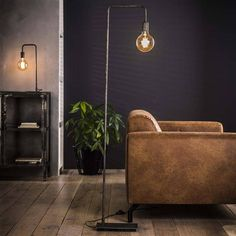 This Alec floor lamp is made of sturdy water pipes in silver gray. This also applies to the tapered cap. An easy going simple looking stylish lamp. Art Deco Bedroom, Room Decor Bedroom, Silver Floor Lamp, Interior Design Boards, Modern Floor Lamps, Minimalist Interior, Home And Living, Living Room, Interior Inspiration
