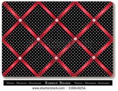 Tuck favorite photos and keepsakes under red satin ribbons on black and white polka dot French style memory board. DIY for headboards, home decorating, scrapbooks. Red Classroom, Polka Dot Classroom, Disney Classroom, Classroom Board, Classroom Design, School Classroom, Classroom Themes, Classroom Organization, Online Classroom