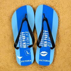 e7572cc63f878 Hen Party Personalised Flip Flops in Light Blue Personalized Flip Flops