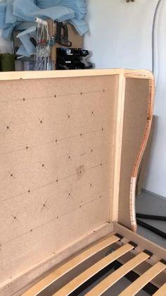 Diy Storage Headboard, Bed Headboard Design, Sofa Bed Design, Bed Frame Design, Living Room Sofa Design, Bedroom Closet Design, Home Room Design, Headboards For Beds, Drawing Room Furniture