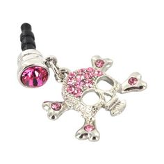 For Apple iPhone 4S 4 Galaxy S Cell Phones & MP3s Silver Skull Pink Gems Universal 3.5mm Headphone Plug Charm