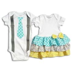 Boy Girl Twin Matching Outfits Aqua/Yellow/Gray ❤ liked on Polyvore featuring baby