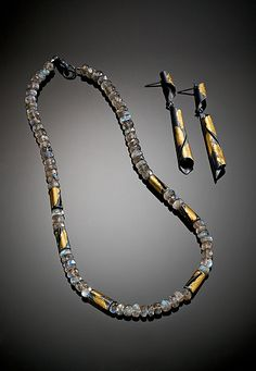 Labradorite Necklace and Midnight Curl Earrings: Judith Neugebauer: Gold, Silver & Stone Jewelry - Artful Home