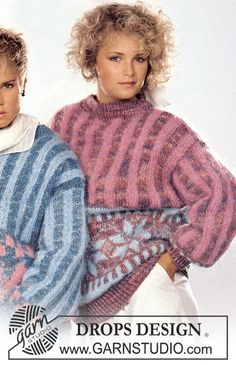 """DROPS jumper in """"Macao"""" with pattern border and stripes in """"Vienna"""". Size S – L. - Free pattern by DROPS Design"""
