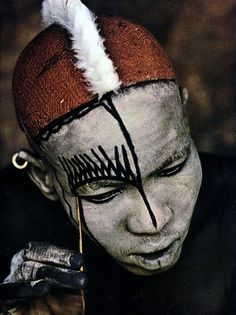 NUBA people of Sudan do complete body decoration