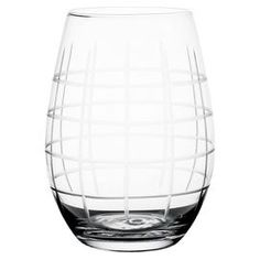 "Bring a chic touch to your table with this stylish stemless wine glass, showcasing etched geometric details.  Product: Set of 4 stemless wine glasses Construction Material: GlassColor: ClearFeatures: 17 Ounce capacity  Dimensions: 5"" H x 4"" Diameter"