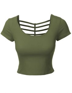 LE3NO Womens Fitted Cropped Tee with Cross Cut Outs
