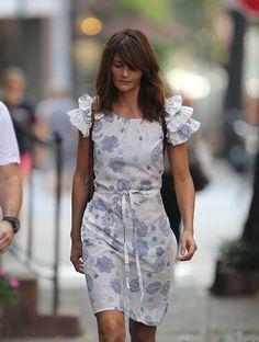 summer white print dress