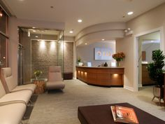 Tranquil healthcare waiting room, a few pops of color or artwork could make this a very versatile space.