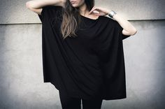 Oversized top every day tunic loose fit top black by patkas, $44.00