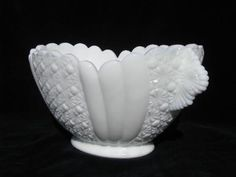 daisy & button draped panel oval bowl, vintage milk white pattern glass $27