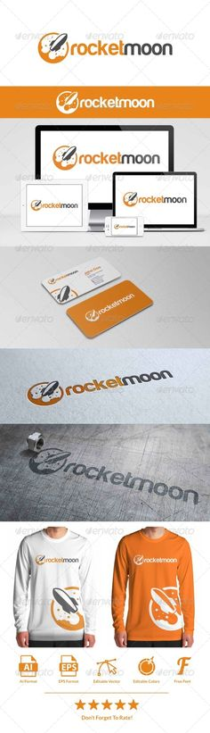 Rocket Moon Logo — Vector EPS #moon #company • Available here → https://graphicriver.net/item/rocket-moon-logo/8056415?ref=pxcr