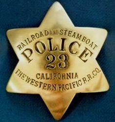 Railroad & Steamboat Police Badge. Western Pacific Railroad.
