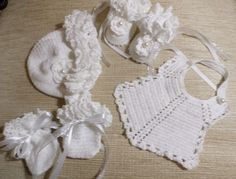 Thread crochet set, Beanie, Bib, Booties and Mits.