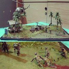 Vietnam diorama. Unknown modeler and scale #scalemodel #plastimodelismo #plastickits #usinadoskits #udk #war #guerra #vietnam #hobby #guerre #plasticmodel #plastimodelo #diorama #bataille