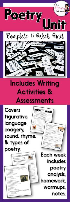 Poetry Unit with Assessments and Writing Activities Middle School Ela, Middle School English, English Lesson Plans, English Lessons, Writing Activities, Teaching Resources, Teaching Ideas, Poetry Lessons, English Classroom
