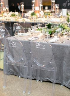 Love The Custom Calligraphy Vinyl By Lh On These Ghost Chairs At A Corcoran Gallery Wedding Karson Butler Events