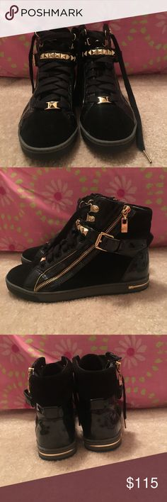 NEW Michael Kors sneakers!! These are black Michael Kors sneakers with patent leather, velvet, and studded designs! They are super cute and very fashionable. These shoes are in New and perfect condition and they have no flaws. They are a size 8 ! KORS Michael Kors Shoes Sneakers