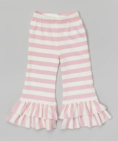 This Pink  & White Stripe Flare Pants - Infant, Toddler & Girls by Blossom Couture is perfect! #zulilyfinds