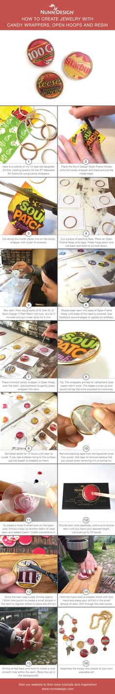 Here is a tutorial of my 13 year-old daughter, Emillia, creating jewelry for her Port Townsend Wearable Art Show costume using candy wrappers. This tutorial has a lot of steps, I won't deny that, but the results are super fun!