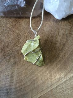 Raw Green Opal Necklace Crystal Necklace  Stone by TheStoneForest