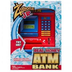 Zillionz Junior Real Money ATM kids' bank from Alex Brands is an electronic piggy bank that looks like a real adult ATM.