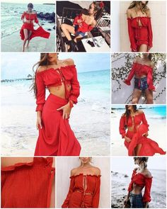 Girl Gxng is made up of a group of girls that champion and encourage each other to live a purposeful and intentional life. Red Blouses, Shirt Blouses, Chiffon Material, Summer Skirts, Long Sleeve Crop Top, Skirt Fashion, Pattern Fashion, Sleeve Styles, Crop Tops