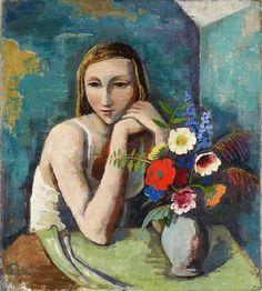 Karl Hofer - Mädchen mit Blumen (1936)