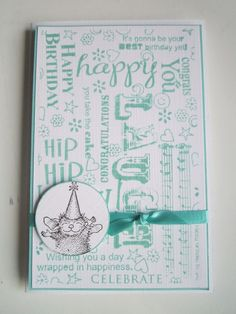 Birthday card with different text stamps