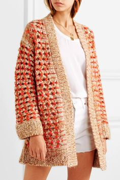 Multicolored crochet-knit Slips on alpaca, wool, mohair, polyamide Dry clean Made in Italy Knitwear Fashion, Crochet Fashion, Crochet Designs, Knitting Designs, All White Outfit, Knit Picks, Knit Cardigan, Brown Cardigan, Missoni