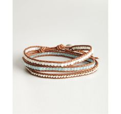Chan Luu brown leather and ice blue bead wrap bracelet | BLUEFLY