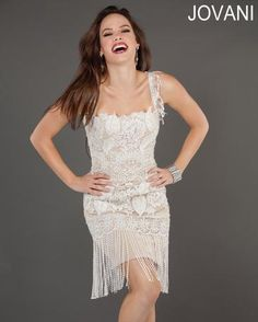 White Wedding or Any occasion Flapper Dress Jovani Short and Cocktail Dress 73600 $570.00 Store: TJ Formal