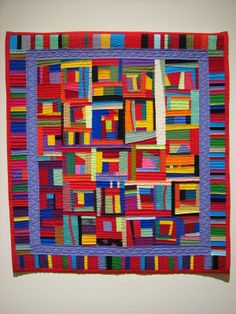 "Last Thursday we had the pleasure of seeing the exhibit ""Gwen Marston: Contemporary Quilts"" at the Dennos Museum Center in Traverse City, Mi. Colorful Quilts, Blue Quilts, Scrappy Quilts, Small Quilts, Quilting, Gees Bend Quilts, Fiber Art Quilts, Quilt Modernen, String Quilts"