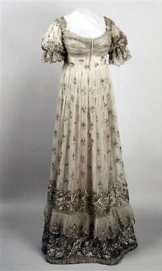 ca. 1810 Josephine dress of silver embroidered gauze (Châteaux de Malmaison et Bois-Préau, Malmaison France)