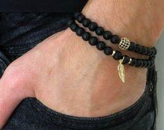 Men's Bracelet Set - Men's Beaded Bracelet - Men's Leather Bracelet - Men's Jewelry - Men's Gift - B Cool Mens Bracelets, Beaded Bracelets, Aquamarine Bracelet, Paparazzi Jewelry, Charm Jewelry, Male Jewelry, Diy Jewelry, Minimalist Jewelry, Gifts For Husband