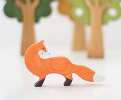 Wooden fox toy Woodland toy animals Toys for kids Wooden toy Waldorf nature table Learning toys for toddlers Eco Friendly