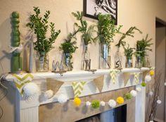 Christmas Decorating: Simple and Homemade using pom poms, evergreens, and burlap
