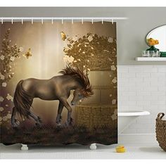 Bathroom Decor Masculine Shower Curtain Running Horses Southwestern Home Accessories Country House Decor Gifts for Equestrians Horse Farm Shower Curtains Set with Hooks Brown Charcoal Gray Cream Khaki