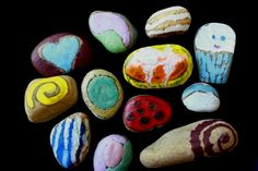 UPCYCLE THOSE OLD CRAYONS and create some MELTED CRAYON ROCK PAINTING: Put rocks in oven to make them hot, then the crayon melts over the surface of the hot rocks and creates a smooth, vibrant, colorful coating that hardens into a waxy shell.
