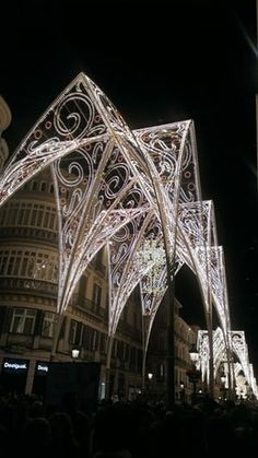 Christmas lights from around the world - Calle Marqués de Larios is the main shopping street in Málaga, Spain. Christmas Pictures With Lights, Hanging Christmas Lights, Christmas Light Displays, Holiday Lights, Outdoor Christmas, White Christmas, Victorian Christmas, Vintage Christmas, Illumination Noel