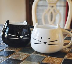 Cute Cat Mug - White or Black - 12 oz. Coffee Mug - Tickled Teal on Etsy