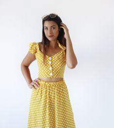 Σετ Yellow Retro Polka Dot -Top+Skirt Set BLUSHGREECE Short Skirts, Short Sleeve Dresses, Dresses With Sleeves, Co Ord, Polka Dot Top, Skirt Set, Retro, Yellow, How To Wear
