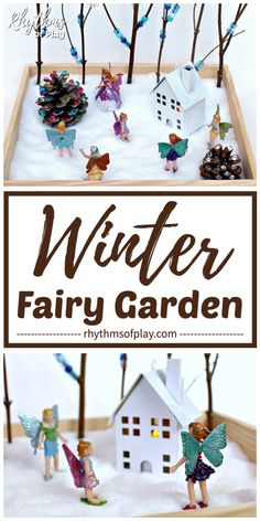 This Tabletop Winter Wonderland Is Easy To Make And Provides Unlimited Hours Of Imaginative Play. This Homemade Fairy Garden Idea Does Not Require Live Plants Or Soil, Instead, It Contains Sensory And Fine Motor Activities For Kids Fine Motor Activities For Kids, Winter Activities For Kids, Creative Activities For Kids, Winter Crafts For Kids, Diy For Kids, Sensory Activities, Toddler Activities, Winter Fairy, Winter Fun