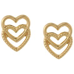 Mondevio 14k  Gold Double Heart Stud Earrings ($35) ❤ liked on Polyvore featuring jewelry, earrings, butterfly earrings, yellow gold earrings, butterfly stud earrings, stud earring set and 14k gold jewelry