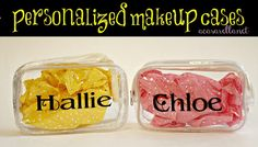 Personalize inexpensive plastic makeup cases to make cute favor bags.