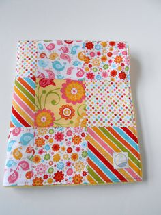 Minky Patchwork Baby Girl Blanket Quilt Riley Blake Hello Sunshine Red Yellow Blue Pink--Ready to Ship