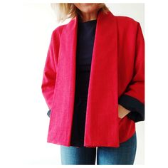 This is the second Wiksten Haori (Wiksten Kimono) I've made and I just adore this pattern. I made this one in red, washed linen and I couldn't be happier with how it turned out. Lauren Taylor, Just Love, Thrifting, Two By Two, Kimono Top, It Is Finished, Blazer, Sewing, Sweet