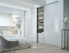 bedroom in white Bedroom Built In Wardrobe, Wardrobe Room, Bedroom Closet Design, Bedroom Decor, Sliding Door Wardrobe Designs, Silver Bedroom, Dressing Room Design, Cupboard Design, Modern Bedroom